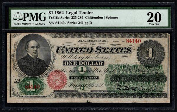 1862 $1 Legal Tender PMG 20 VF Fr.16c United States Note Item #5012469-001