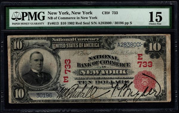 1902 $10 National Bank of Commerce New York Red Seal PMG 15 Fr.613 Charter CH#733 Item #5012888-014