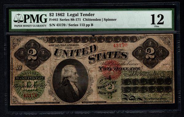 1862 $2 Legal Tender PMG 12 FINE Fr.41 United States Note Item #5004689-015