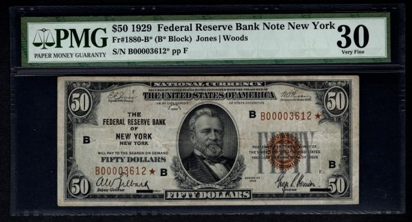 1929 $50 Star FRBN New York PMG 30 Fr.1880-B* Federal Reserve Bank Note Item #8006282-002