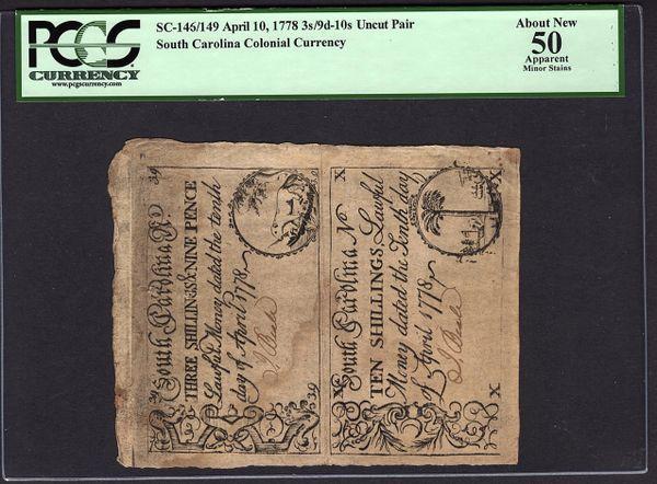 1778 South Carolina Colonial Currency Uncut Pair PCGS 50 APPARENT SC-146/149 3s,9d&10s Item #80715281