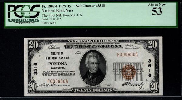 1929 $20 First National Bank Pomona CA California PCGS 53 Fr.1802-1 Charter CH#3518 Item #80821448