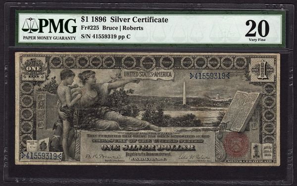 1896 $1 Educational Silver Certificate PMG 20 Fr.225 Item #1702657-005