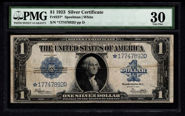 1923 $1 Silver Certificate Star Note PMG 30 Fr.237* Item #5004642-004