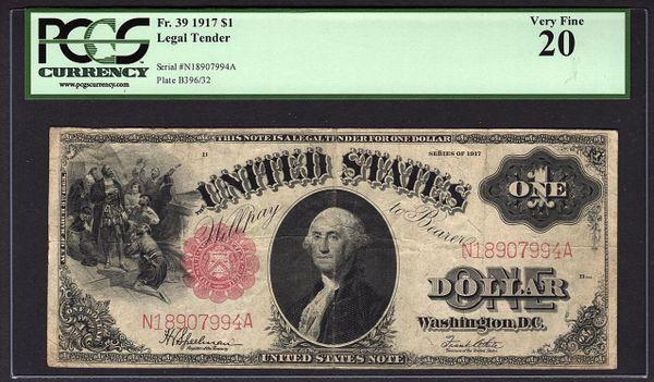 1917 $1 Legal Tender PCGS 20 VF Fr.39 United States Note Item #80777204