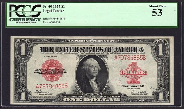 1923 $1 Legal Tender Red Seal PCGS 53 Fr.40 United States Note Item #80785409