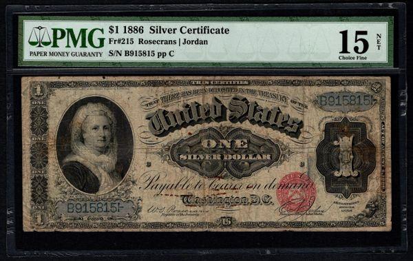 1886 $1 Silver Certificate Martha Note PMG 15 NET Fr.215 Item #5012681-001