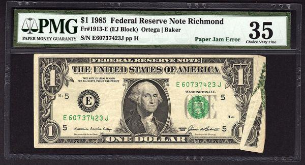 1985 $1 ERROR Paper Jam PMG 35 Richmond Federal Reserve Note Item #5012024-011