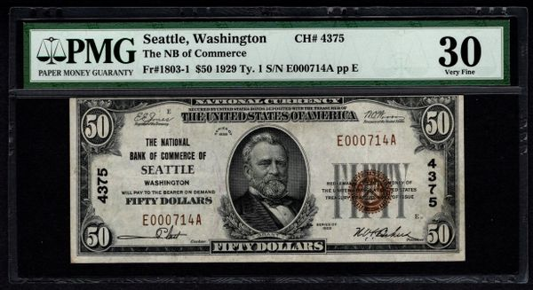 1929 $50 National Bank of Commerce Seattle Washington PMG 30 Charter CH#4375 Fr.1803-1 Item #5012251-015