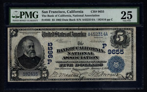 1902 $5 San Francisco Bank of California PMG 25 Charter CH#9655 Item #8010616-004