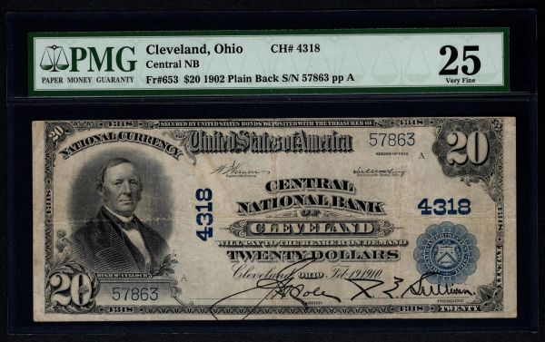 1902 $20 Central National Bank Cleveland Ohio PMG 25 Fr.653 Charter CH#4318 Item #1192956-003