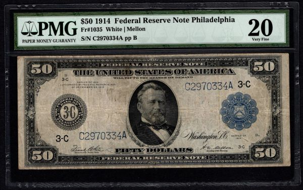 1914 $50 Philadelphia FRN PMG 20 Fr.1035 Federal Reserve Note Item #5012254-017