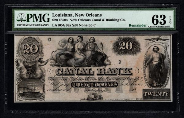 1850's $20 Canal Bank New Orleans Louisiana PMG 63 EPQ Obsolete Note Item #1623544-034