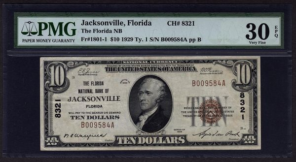 1929 $10 National Currency Jacksonville FL Florida PMG 30 EPQ Bank Note Fr.1801-1 Charter Ch#8321 Item #1601012-004