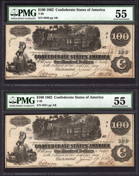 Lot of Five Consecutive 1862 $100 T-39 Confederate Notes PMG 55/55/55/62/63 All with 1863, 1864 & 1865 Richmond Interest Paid Stamps Item #8046059-001/2/3/4/5