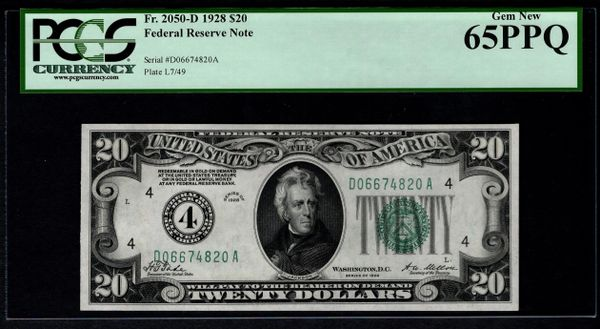 1928 $20 Cleveland FRN PCGS 65 PPQ Fr.2050-D Numerical 4 District Item #80842353