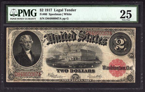 1917 $2 Legal Tender PMG 25 VF Fr.60 United States Note Item #1624743-021