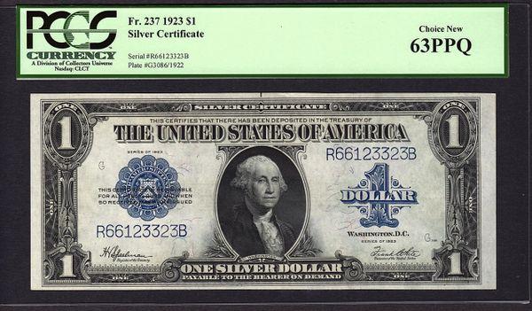 1923 $1 Silver Certificate Graded PCGS 63 PPQ Fr.237 Item #80226056