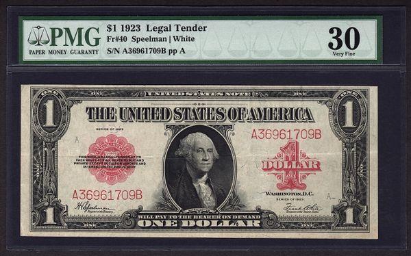 1923 $1 Legal Tender Red Seal PMG 30 Very Fine Fr.40 Speelman / White Item #1110785-001