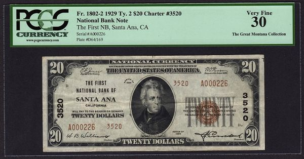 1929 $20 Santa Ana CA California PCGS 30 Charter CH#3520 Fr.1802-2 Item #80393409