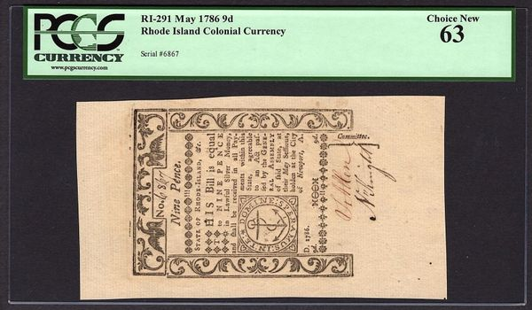 1786 Rhode Island Colonial Currency PCGS 63 RI-291 9d Nine Pence Item #80617932