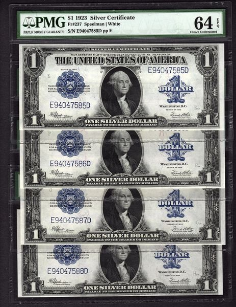 Lot of Four Consecutive 1923 $1 Silver Certificate Notes PMG 63 & 64 EPQ Fr.237 Item #1625208-003/004/005/006