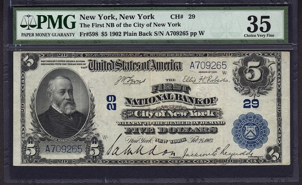 1902 $5 The First NB of the City of New York NY PMG 35 Fr.598 Charter CH#29 Item #1538135-007
