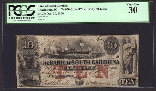1860 $10 Bank of South Carolina Charleston PCGS 30 VF with Ship Scene Obsolete Note Item #80754224
