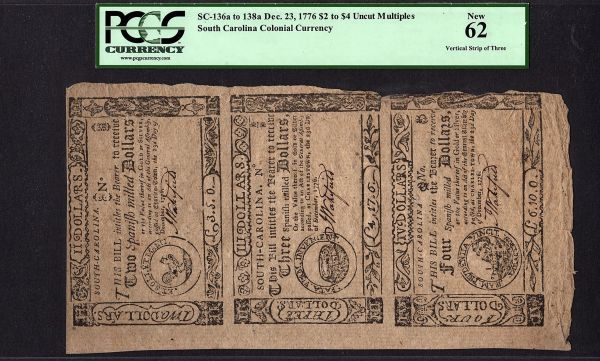 1776 Colonial Currency South Carolina Uncut Sheet Strip of 3 PCGS 62 New SC-136a to SC-138a Item #80627753