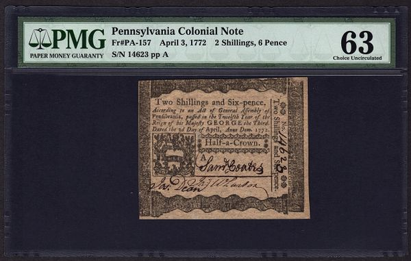 1772 Pennsylvania Colonial Note PMG 63 PA-157 2s 6d Two Shillings and Six Pence Item #5010691-016
