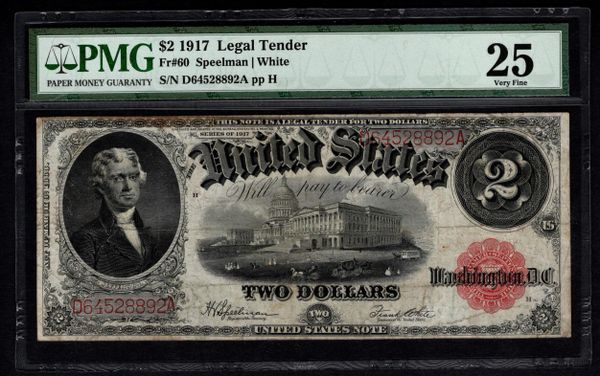 1917 $2 Legal Tender PMG 25 VF Fr.60 United States Note Item #8040630-017