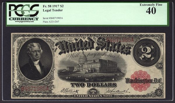 1917 $2 Legal Tender PCGS 40 Fr.58 United States Note Item #80782930