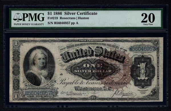 1886 $1 Silver Certificate Martha Note PMG 20 VF Fr.219 Item #5004200-002