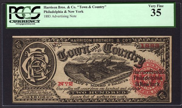 1883 Philadelphia PA Advertising Note Card PCGS 35 Harrison Brothers Paint Grays Ferry Item #80741006