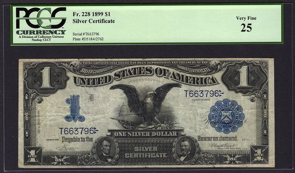 1899 $1 Silver Certificate Black Eagle Note PCGS 25 Fr.228 Item #80134122