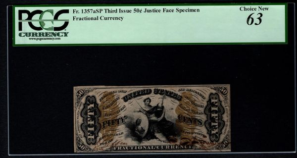 Third 3rd Issue 50 Cents PCGS 63 Fr.1357aSP Justice Face Specimen Fractional Currency Item #80770534