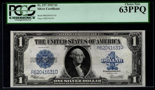 1923 $1 Silver Certificate PCGS 63 PPQ Fr.237 Item #80844372
