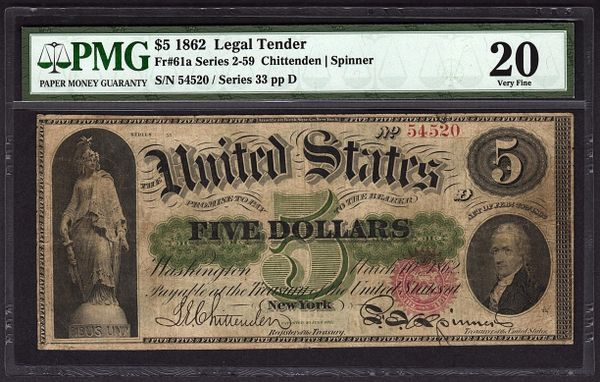1862 $5 Legal Tender PMG 20 VF Fr.61a United States Note Item #5004586-004