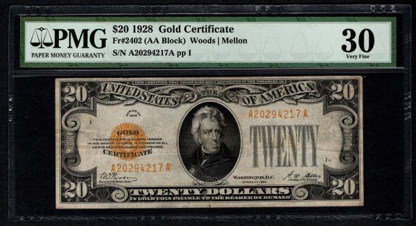 1928 $20 Gold Certificate PMG 30 Fr.2402 Item #8041411-006