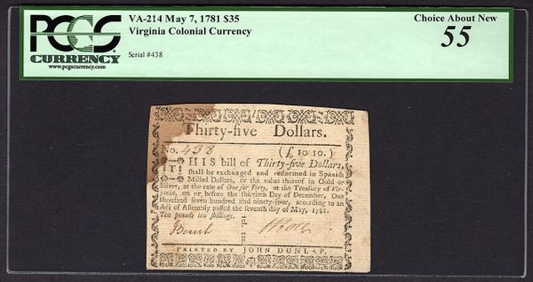 1781 $35 Virginia VA Colonial Note PCGS 55 VA-214 Item #80611398