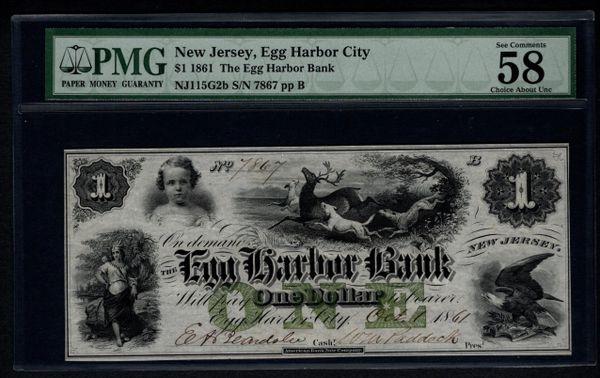 1861 $1 Egg Harbor City Bank NJ New Jersey PMG 58 EPQ Obsolete Note with Deer Scene Item #1004171-015