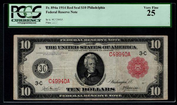 1914 $10 Philadelphia FRN PCGS 25 Fr.894a Red Seal Item #80653520