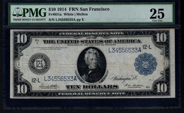 1914 $10 San Francisco FRN PMG 25 Fr.951a Federal Reserve Note Item #1537527-020