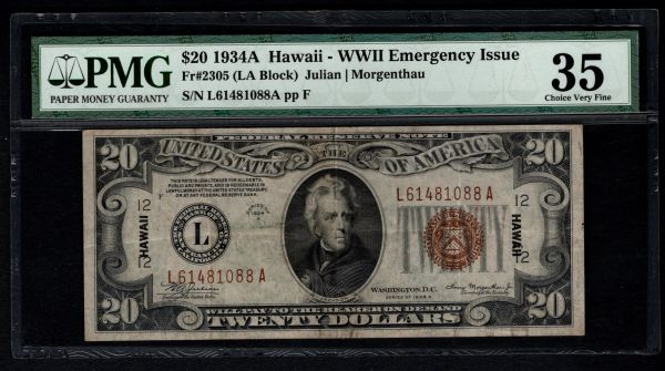 1934A $20 Hawaii Federal Reserve Note PMG 35 Fr.2305 Item #1603740-013