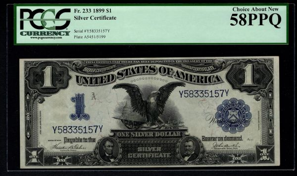 1899 $1 Silver Certificate Black Eagle Note PCGS 58 PPQ Fr.233 Item #80161743