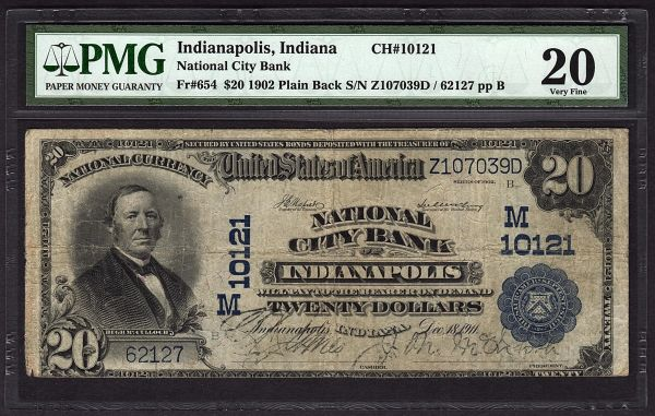 1902 $20 Indianapolis Indiana National City Bank PMG 20 Fr.654 Charter CH#10121 Item #1600734-008