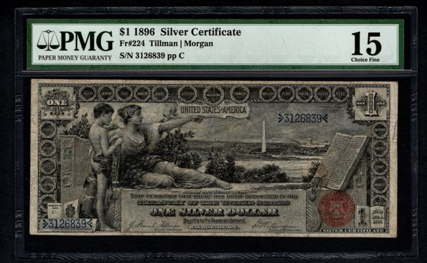 1896 $1 Educational Silver Certificate PMG 15 Fr.224 Item #5012477-014
