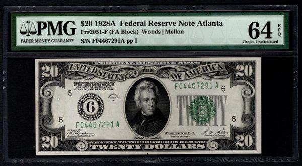 1928A $20 Atlanta FRN PMG 64 EPQ Fr.2051-F Numerical 6 District Item #5004752-009