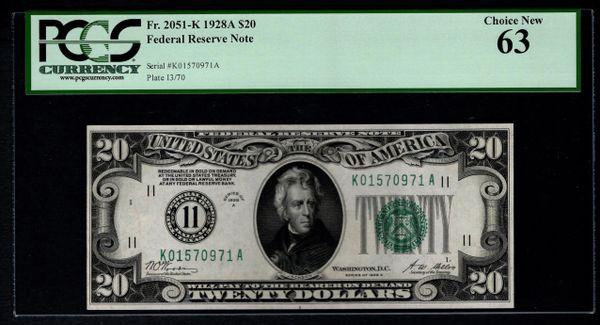 1928 $20 Dallas FRN PCGS 63 Fr.2051-K Numerical District Item #80803578