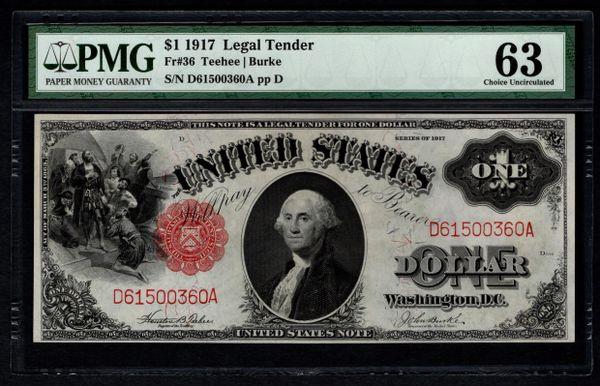 1917 $1 Legal Tender PMG 63 Fr.36 United States Note Item #50132046-007